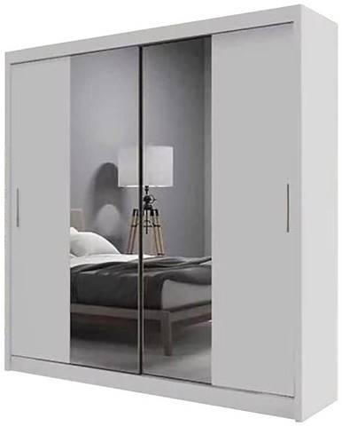 Skriňa Ola biela s zrkadlom 200 cm