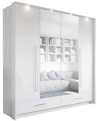 Skriňa Toledo 209 cm biela/zrkadlo