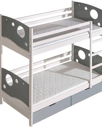 Poschodová posteľ Kevin borovica biela/šedá