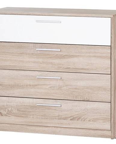 Komoda 4S Milo 06 Dub Sonoma 3D/biely