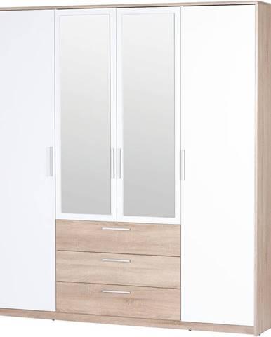 Skriňa 4D3S Milo 02 Dub Sonoma 3D/biely