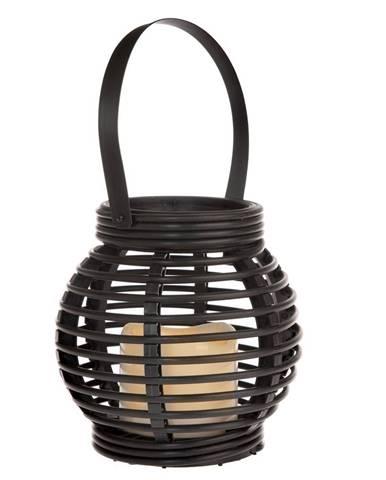 Lampáš s LED sviečkou Lucida, čierna, 14 x 13 x 14 cm