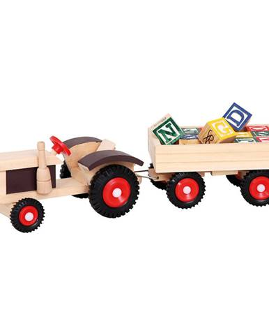 Bino Traktor s gumovými kolesami a vlečkou