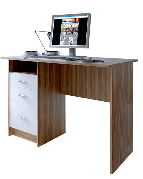Kondela PC stôl dub slivka/biela SAMSON NEW