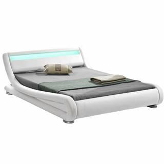Moderná posteľ s RGB LED osvetlením biela 160x200 FILIDA