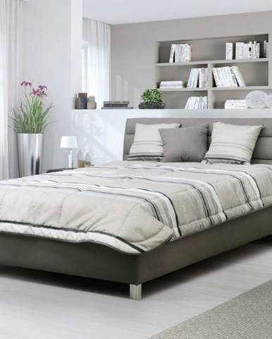 Čalúnená posteľ Alison 140x200, sivá, vr. mat., pol. roštu a ÚP