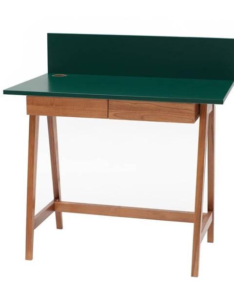 Ragaba Zelený písací stôl s podnožím z jaseňového dreva Ragaba Luka Oak, dĺžka 85 cm