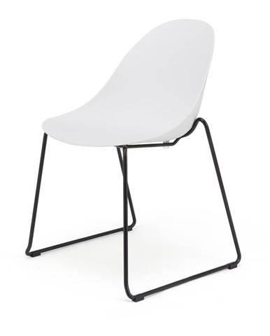 Súprava 2 bielych jedálenských stoličiek s čiernym podnožím Le Bonom Viva