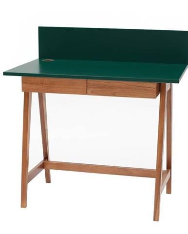 Zelený písací stôl s podnožím z jaseňového dreva Ragaba Luka Oak, dĺžka 85 cm