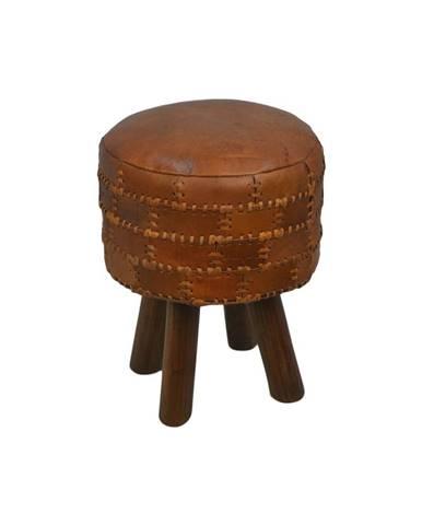 Stolička z hovädzej kože HSM collection Art of Nature Vintage Cognac, ⌀ 33 cm