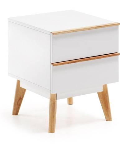 Biely nočný stolík La Forma Meety, 42,5×40cm