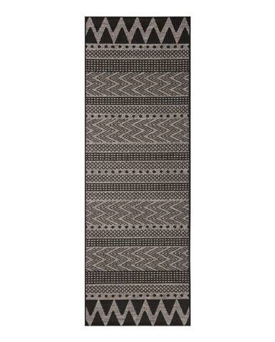 Čierno-béžový vonkajší koberec Bougari Sidon, 70 x 200 cm