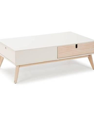 Biely konferenčný stolík s 2 zásuvkami a nohami z borovicového dreva Marckeric Kiara