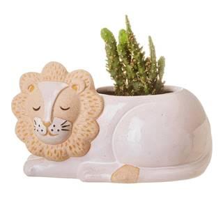 Bielo-béžový kvetináč Sass & Belle Leo Lion, ø 7 cm