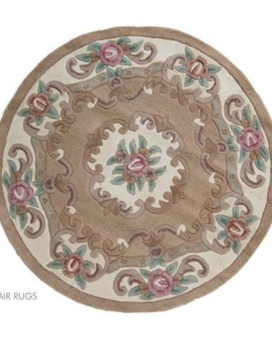 Béžový vlnený koberec Flair Rugs Aubusson, ⌀ 120 cm