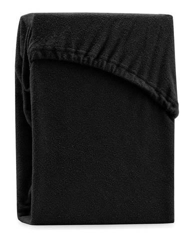Čierna elastická plachta na dvojlôžko AmeliaHome Ruby Siesta, 200-220 x 200 cm