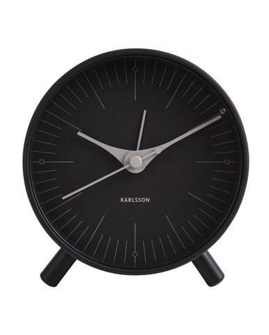 Čierny kovový budík Karlsson Index, ø 11 cm