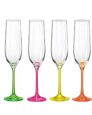 Crystalex 4dielna sada pohárov na šampanské neON, 190 ml