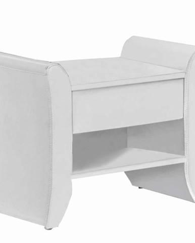 Nočný stolík biela ekokoža BOLTON