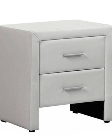 Nočný stolík ekokoža biela CASTEL
