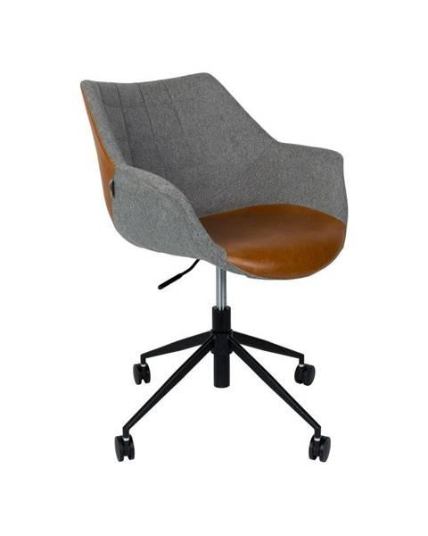 Zuiver Sivá kancelárska stolička s hnedým detailom Zuiver Doulton