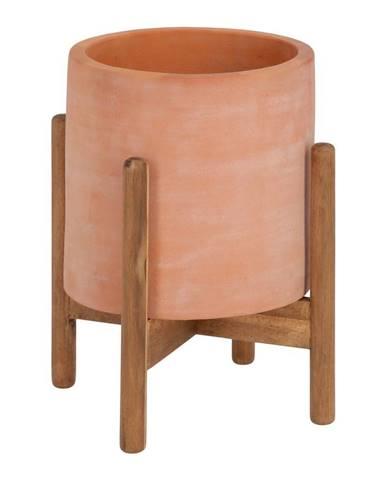 Terakotový kvetináč na drevenom podstavci La Forma Dalva, ⌀ 30 cm