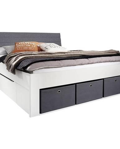 Carryhome POSTEĽ, 140/200 cm, kompozitné drevo, sivá, biela - sivá, biela