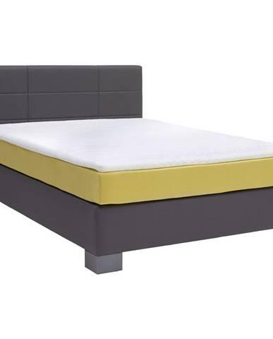 Hom`in POSTEĽ BOXSPRING, 140/200 cm, textil, antracitová, žltá - antracitová, žltá