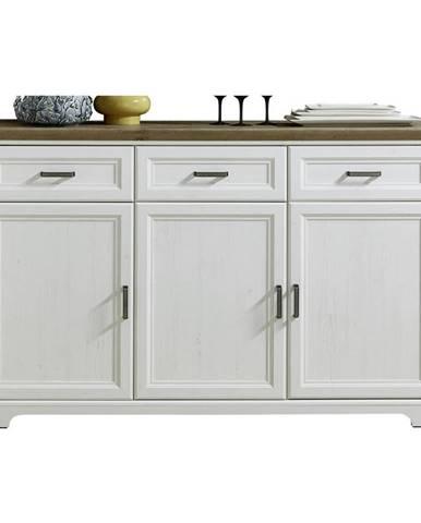 Hom`in KOMODA, biela, farby dubu, 166/102/48 cm - biela, farby dubu