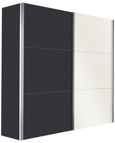 Hom`in SKRIŇA S POSUVNÝMI DVERMI, grafitová, biela, 150/216/68 cm - grafitová, biela