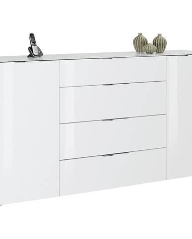Novel PRÍBORNÍK/KOMODA, antracitová, biela, 181/100/40 cm - antracitová, biela