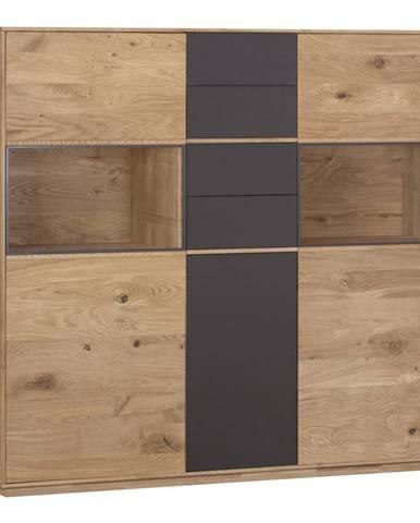 Valnatura KOMODA HIGHBOARD, divý dub, antracitová, farby dubu, 156,5/138/42 cm - antracitová, farby dubu