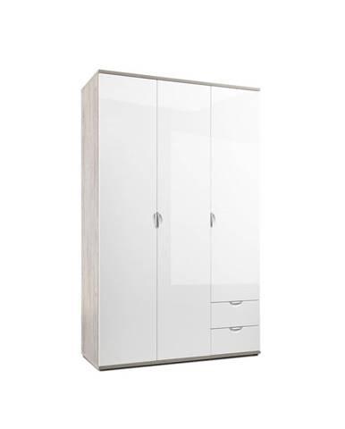 Xora SKRIŇA S OTOČNÝMI DVERAMI, biela, farby dubu, 135/216,5/55 cm - biela, farby dubu
