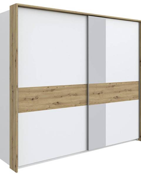 Stylife Stylife SKRIŇA S POS. DVER. – HOR.VED., biela, farby dubu, 257/229/70 cm - biela, farby dubu