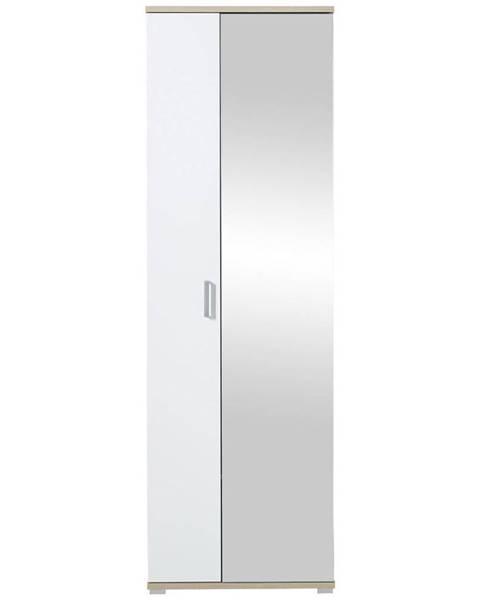Xora Xora ŠATNÍKOVÁ SKRIŇA, biela, farby dubu, 70/219/57 cm - biela, farby dubu