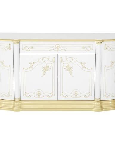 Cantus KOMODA, biela, zlatá, 186/87/54 cm - biela, zlatá