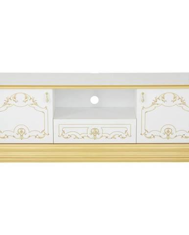 Cantus TV DIEL, biela, zlatá, 162/55/41 cm - biela, zlatá