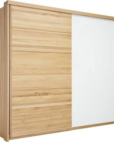 Linea Natura SKRIŇA S POSUVNÝMI DVERMI, jadrový buk, biela, farby buku, 239/216/70 cm - biela, farby buku