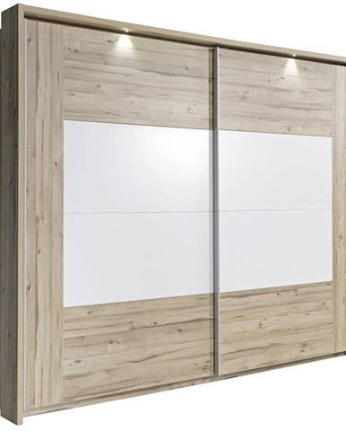 Ti`me SKRIŇA S POSUVNÝMI DVERMI, dub, biela, farby dubu, 270/210/61 cm - biela, farby dubu