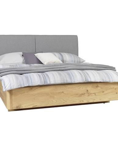 Valnatura POSTEĽ, 180/200 cm, drevo, textil, sivá, farby dubu - sivá, farby dubu
