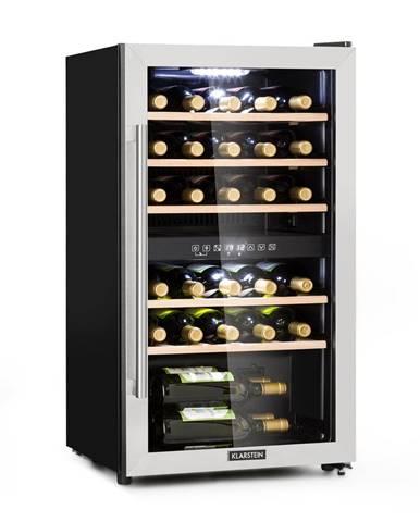 Klarstein Vinamour 29D, vinotéka, 2 zóny, 80 l, 29 fliaš, 5 - 22 °C, dotykové ovládanie