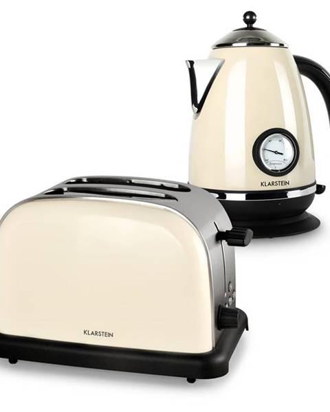 Klarstein Klarstein Aquavita Creme, krémová, raňajková sada, 2200 W rýchlovarná kanvica + 1000 W hriankovač