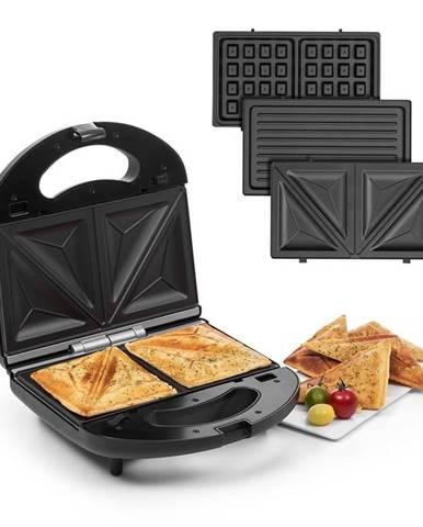 Klarstein Trilit 3 v 1, sendvičovač, 750 W, 3 grilovacie platne, LED, nelepivý povrch, čierny