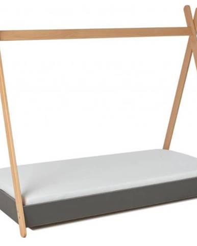 ArtGapp Jednolôžková posteľ TIPI so strieškou