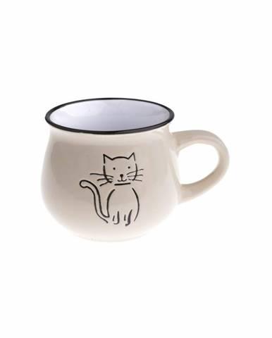 Keramický hrnček Mačka 370 ml, smotanová