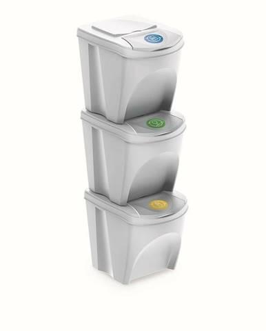 Kôš na triedený odpad Sortibox 25 l, 3 ks, biela IKWB20S3 S449
