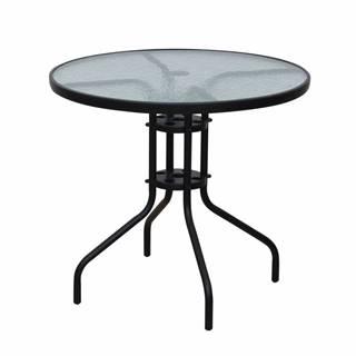 Jedálenský stôl čierna oceľ/tvrdené sklo BORGEN TYP 2
