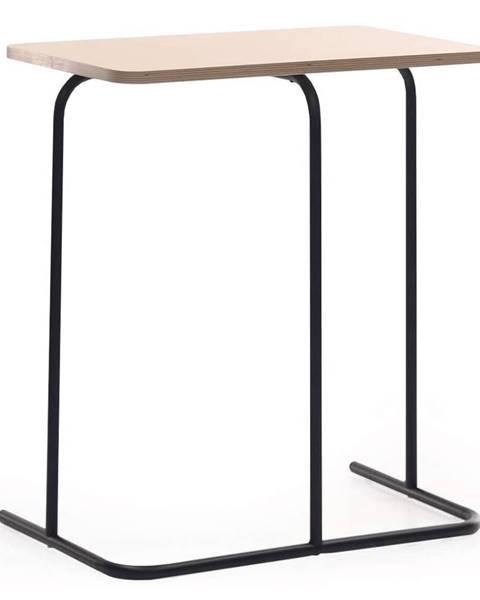 Kondela Príručný stolík dub/čierna LAVERNE TYP 2