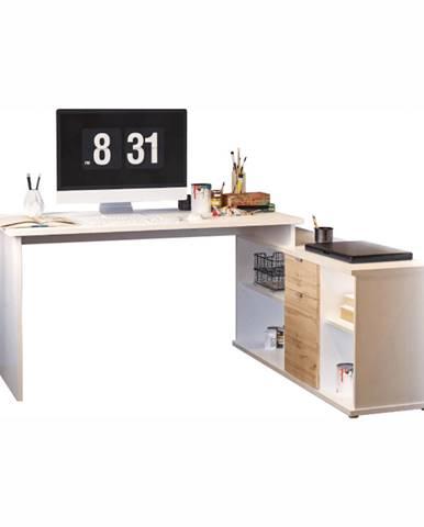 Písací stôl biela/dub wotan DALTON 2 NEW VE 02