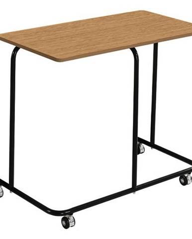 Pojazdný príručný stolík dub/čierna ALLYRA